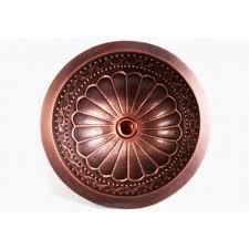 round hammered floral pattern 16 gauge copper undermount drop in
