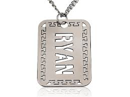man name necklace images Silver man 39 s engraved disc name necklace persjewel jpg