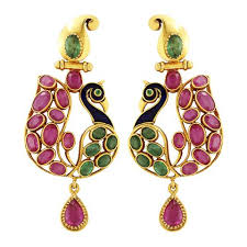 peacock earrings peacock earrings crafted in gold rubies emeralds jl au 104