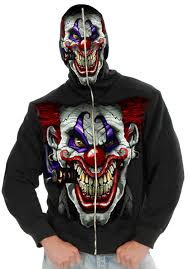 scary clown halloween mask hi ya roy evil clown mens hoodie mr costumes
