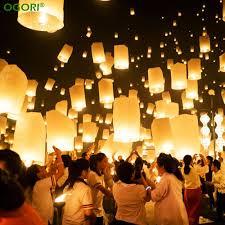 ogori 10pcs chinese paper lantern sky lanterns flying wishing lamp