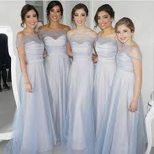 silver bridesmaid dresses the shoulder silver tulle bridesmaid dresses alinanova