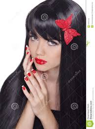 healthy long black hair beautiful gorgeous woman with glamour b