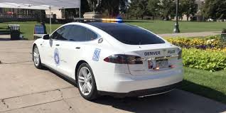 police car a tesla model s converted into a police car by denver pd electrek