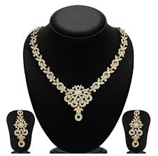 women necklace set images Stunning and stylish gold plated austrian diamond necklace set for jpg
