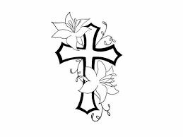 free designs cross flower contour tattoo women 5468415 top