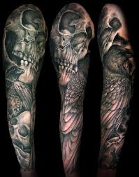 terrific black and grey evil skulls with wings by right