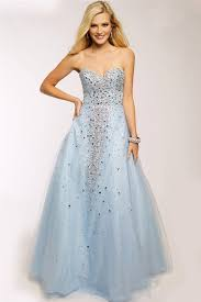 a line sweetheart neckline light blue tulle beaded long prom dress