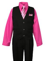 spring notion boys pinstripe dress shirt vest set fuchisa