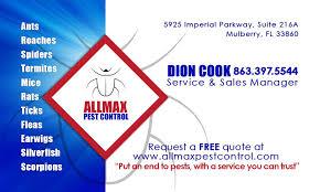 allmax pest business card huey