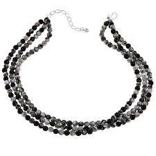 black necklace stone images Jay king 3 strand feather stone and black agate 18 quot sterling jpg