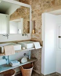 majestic country style bathroom decor of natural stone veneer wall