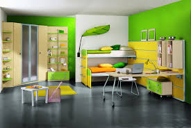 bedroom yellow green contemporary stained wooden bunk bed pillow