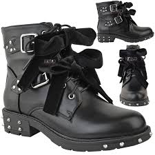 womens flat biker boots new womens ladies studded lace up ankle boots buckle biker goth
