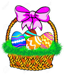 easter basket grass illustration of a easter basket with colorful eggs decorated
