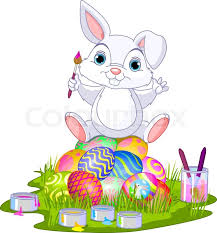 easter bunny easter bunny sitting on eggs stock vector colourbox