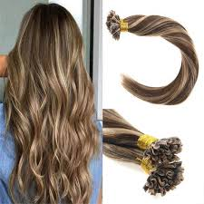 pre bonded hair prebonded u tip hair extensions brown with blonde nail tip