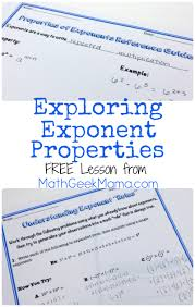 Exponents Printable Worksheets Free Exponent Properties Lesson Math Geek Mama