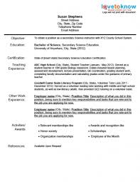 First Grade Teacher Resume Examples Resume Example For A New Teacher Objective Education
