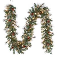 christmas garland with lights 9 ft pre lit led pine artificial christmas garland x