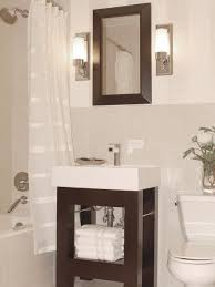 bathroom ceiling light mirror neutral color curtain bathroom