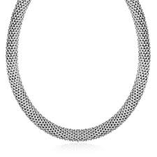 silver necklace sale images Sterling silver rhodium plated rounded design mesh necklace ar jpg