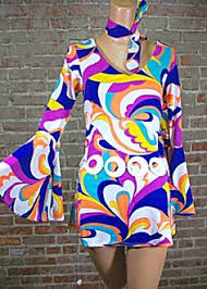 retro go go 60s 70s fancy dress ladies psychedelic disco