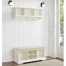 Floating White Shelves by Decor White Wood Entryway Storage Bench With Floating White