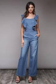 jumpsuit denim ruffle denim jumpsuit in blue