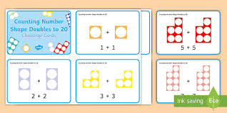 counting number shape doubles to 20 ks1 challenge cards
