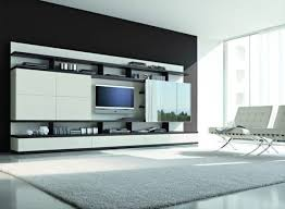 Wall Mounted Entertainment Shelves White Black Colors Wooden Entertainment Storage Units Closed To