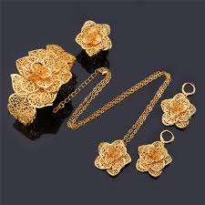 gold sets design aliexpress buy u7 vintage big flower jewelry sets gold color