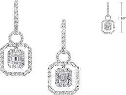 dangling diamond earrings 2 16ct emerald cut hanging diamond earrings jd57447