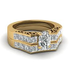 preset engagement rings 2 5 carat cushion cut preset wedding ring sets in 14k