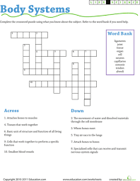 life science crossword body systems crossword body systems and