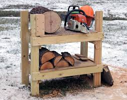 cutting bench makes it easy to convert fresh cut logs into turning