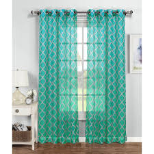 window elements sheer quatrafoil printed sheer wide 54 in w Turquoise Sheer Curtains