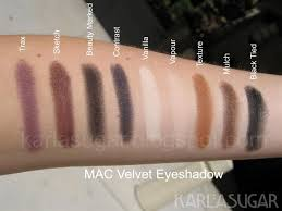 mac eyeshadow lustre and velvet swatches photos reviews