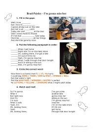 song using pronouns gerunds and infinitives esl worksheets of