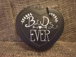 rustic wedding decor chalkboard metal heart signs set of 4
