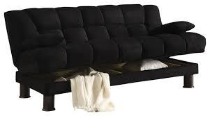 black skin microfiber adjustable tufted storage futon sofa bed