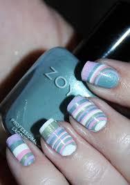 easy diy water marble decal pastel stripes nail art