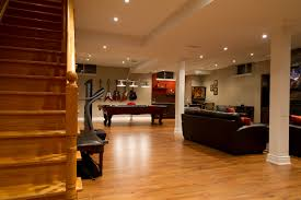 affordable basement family room with wooden ra 21838