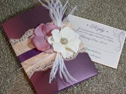 Plum Wedding Vintage Glamour Lace Wedding Invitation Plum Wedding Invitation