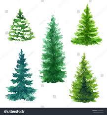 evergreen trees clip set stock illustration