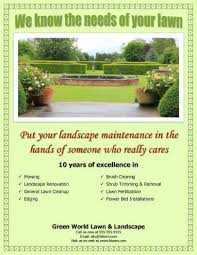 Landscape Maintenance Contract by 15 Lawn Care Flyers Free Examples Advertising Ideas