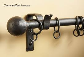 Wrought Iron Curtain Rings Wrought Iron Cannon Ball Finial Finished In Beeswax Curtain Pole