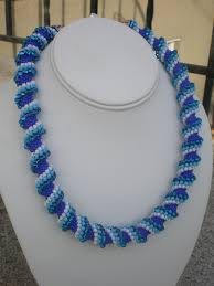 beaded necklace photos images Blue and white spiral beaded necklace gifted hands jpg