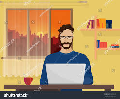 freelancer designer freelancer designer working coding stock vector