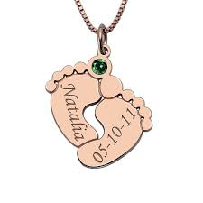 Baby Name Jewelry Baby Feet Necklace With Birthstone Rose Gold Color Baby Name